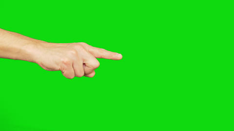 Right hand with index finger point on chroma key background. Alpha channel Footage