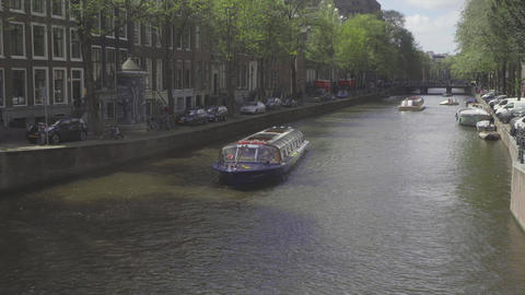 Canal cruise boat in Amsterdam Image