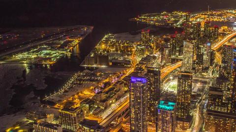 Toronto Waterfront Skyline at Night Footage