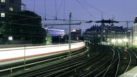 Timelapse Of High Speed Trains And Railroad Rails Footage