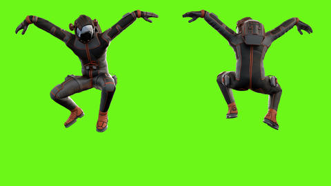 Sci fi man jumping. Loopable animation on green screen. 4k Animation