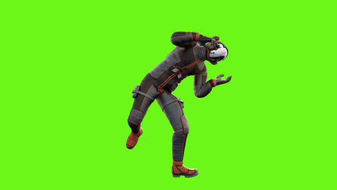 Sci fi man fights. Loopable animation on green screen. 4k Animation