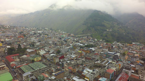 Banos De Agua Santa Ecuador Destination Aerial Shot Live Action