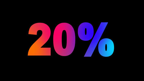 sale tag 20% multi-colored appear then disappear under the lightning strikes Animation