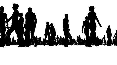 Crowd of silhouette people moves on white Footage