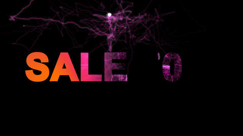 sale tag SALE 50% multi-colored appear then disappear under the lightning Animation