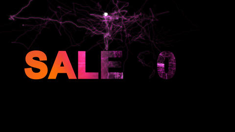 sale tag SALE 60% multi-colored appear then disappear under the lightning Animation