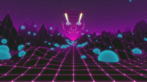 Fantasy flight through VJ 80's meshy scene with giant head and night starry sky Animación