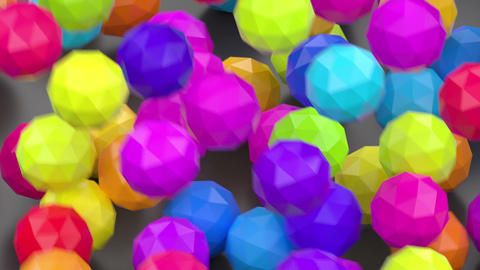 Colorful falling chaotic disordered plastic balls Animation