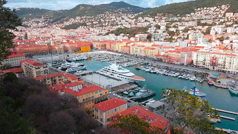 Beautiful Aerial View on Port of Nice And Luxury Yachts Live Action