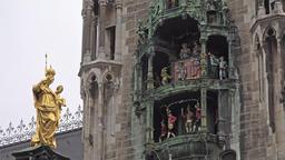 The historic Glockenspiel at Marienplatz, Munich, Germany - Part 04 Footage
