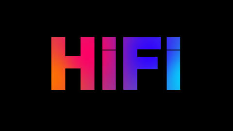 abbreviation HiFi multi-colored appear then disappear under the lightning Animation