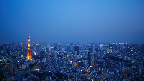Timelapse - Daytime to night scenery in Tokyo Tile down Footage
