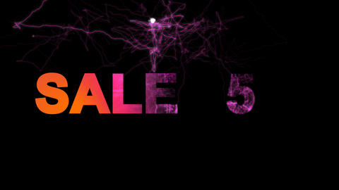 sale tag SALE 15% multi-colored appear then disappear under the lightning Animation
