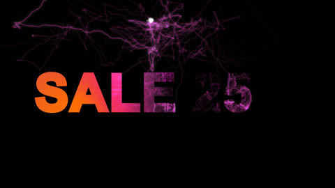 sale tag SALE 25% multi-colored appear then disappear under the lightning Animation