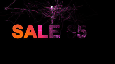 sale tag SALE 65% multi-colored appear then disappear under the lightning Animation