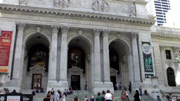 New York City 541 portal and stairs of public library in fifth avenue Footage