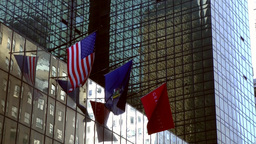 New York City 546 flags on facade of the Hyatt luxury hotel Footage