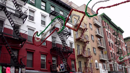 New York City 502 Little Italy house facade in Italian national colors Footage
