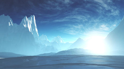 4K Antarctica Ice Field and Mountains Camera Pan Animation