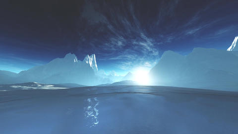 4K Antarctica Ice Field and Mountains Wide Angle Camera Pan Animation