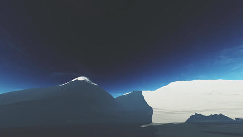 4K Antarctica Ice Field and Mountains Wide Angle Camera Seamlessly Spinning Arou Animation