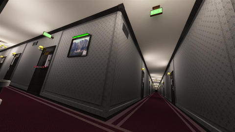 4K Fancy Hotel Corridor Surrealistic View 12 Animation