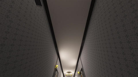 4K Fancy Hotel Corridor Surrealistic View 5 Animation