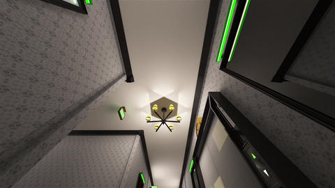 4K Fancy Hotel Corridor Surrealistic View 9 Animation