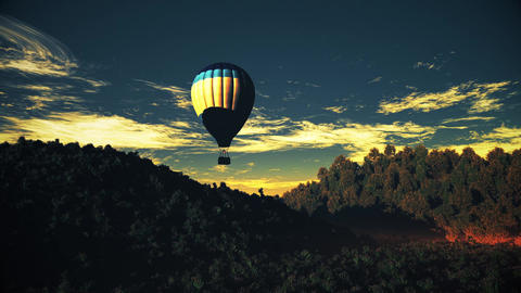 4K Hot Air Balloons Over Lush Natural Wilderness Jungle In The Sunset Sunrise 11 stock footage