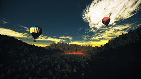 4K Hot Air Balloons Over Lush Natural Wilderness Jungle In The Sunset Sunrise 18 stock footage