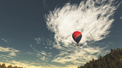 4K Hot Air Balloons Over Lush Natural Wilderness Jungle In The Sunset Sunrise 3 stock footage