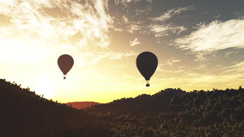 4K Hot Air Balloons over Lush Natural Wilderness Jungle…, Stock Animation