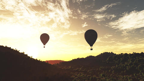 4K Hot Air Balloons Over Lush Natural Wilderness Jungle In The Sunset Sunrise 6 stock footage