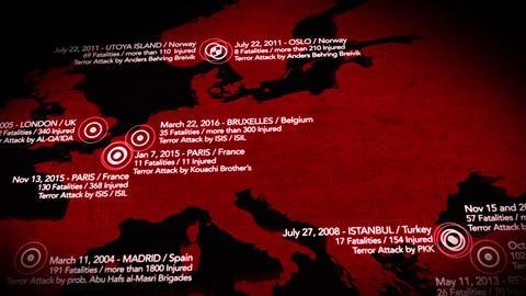 4K Map of Major Terrorist Attacks in Europe between 2000-2016 10 Animation