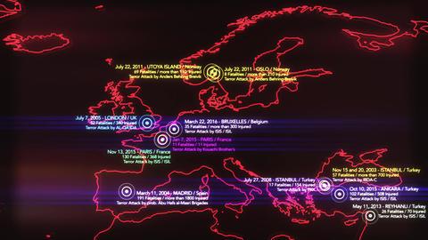 4K Map of Major Terrorist Attacks in Europe between 2000-2016 3 Animation