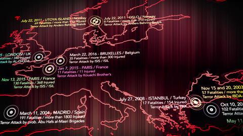 4K Map of Major Terrorist Attacks in Europe between 2000-2016 5 Animation