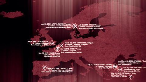 4K Map of Major Terrorist Attacks in Europe between 2000-2016 8 Animation