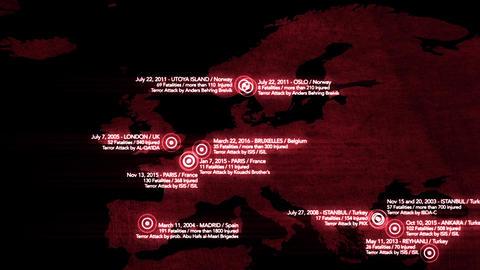 4K Map of Major Terrorist Attacks in Europe between 2000-2016 9 Animation