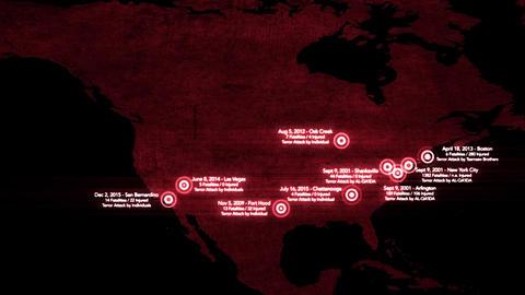 4K Map of Major Terrorist Attacks in the USA between 2000-2016 12 Animación