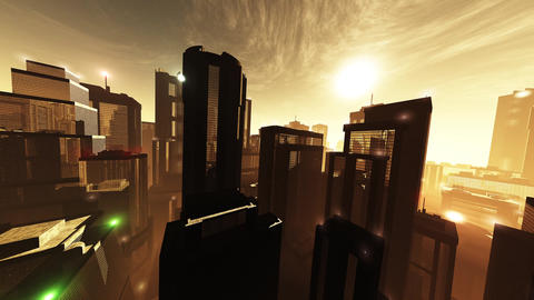 4K Megapolis in the Sunset Sunrise Wide Angle Pan Animation