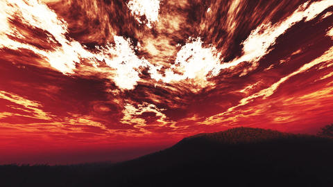 4K Wonderful Sunset Sunrise over Lush Jungle Wide Angle Pan 5 Animation