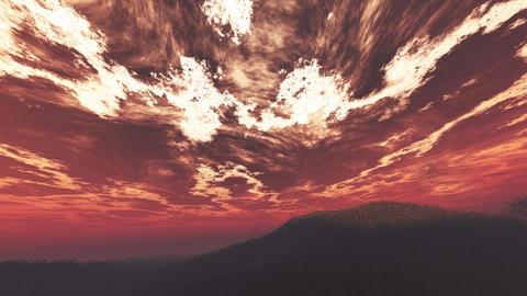 4K Wonderful Sunset Sunrise over Lush Jungle Wide Angle Pan 2 Animation