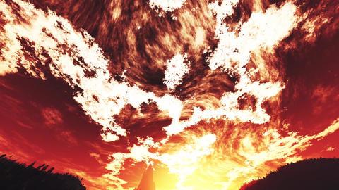 4K Wonderful Sunset Sunrise over Lush Jungle Wide Angle Tilt Down 2 Animation