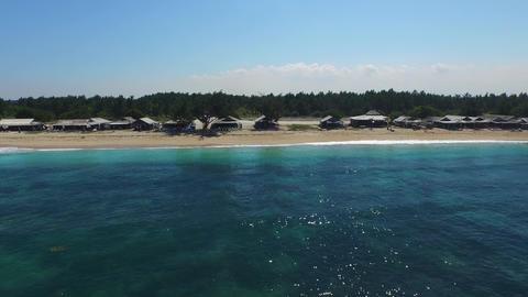 Flying along the seaside restaurants in Serangan , Bali Footage