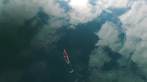 Sea kayaker filmed from above Footage