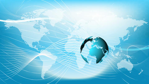 Blue earth technology, business and communications background loop Animation