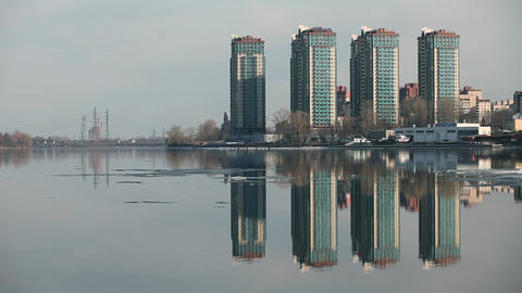 Skyline skyscrapers reflected in the water Footage