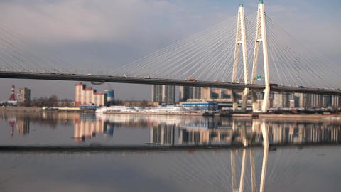 cable-stayed bridge reflected in the river Footage