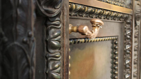 solid ancient a bronze door closes Footage
